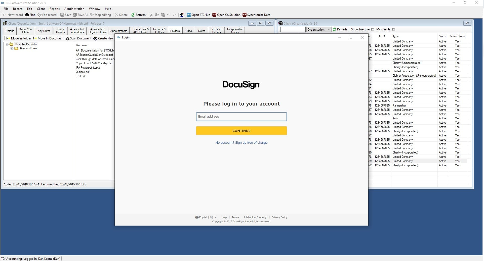 BTC | DocuSign integration within Doc Management